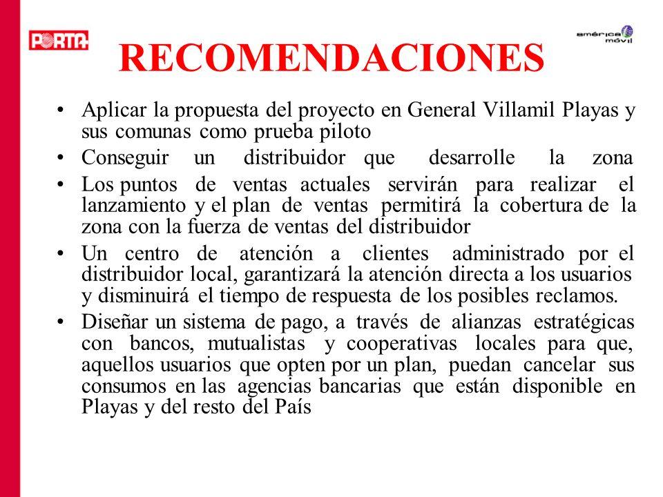 RECOMENDACIONES Aplicar la propuesta del proyecto en General Villamil Playas y sus comunas como prueba piloto.