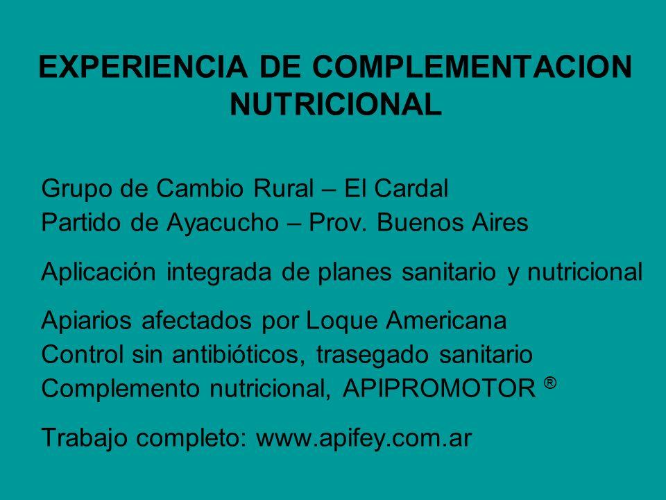 EXPERIENCIA DE COMPLEMENTACION NUTRICIONAL