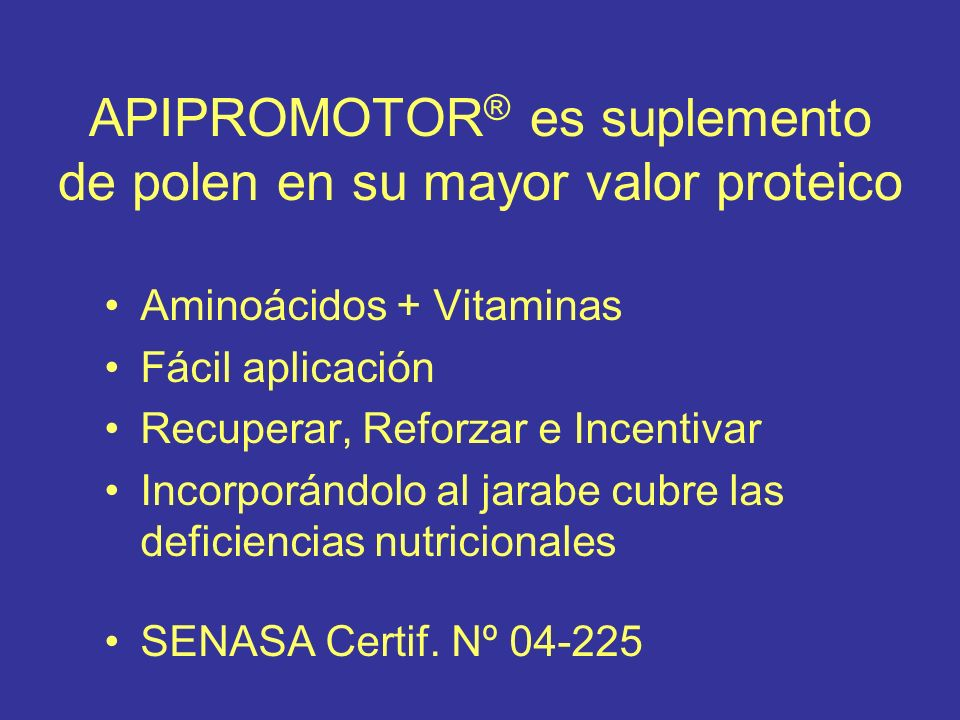 APIPROMOTOR® es suplemento de polen en su mayor valor proteico