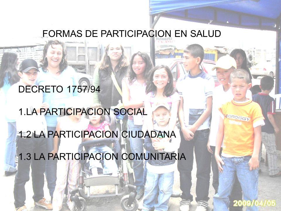 FORMAS DE PARTICIPACION EN SALUD