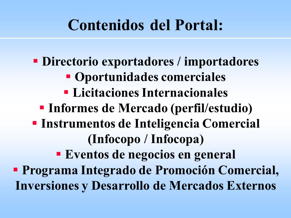 Contenidos del Portal: