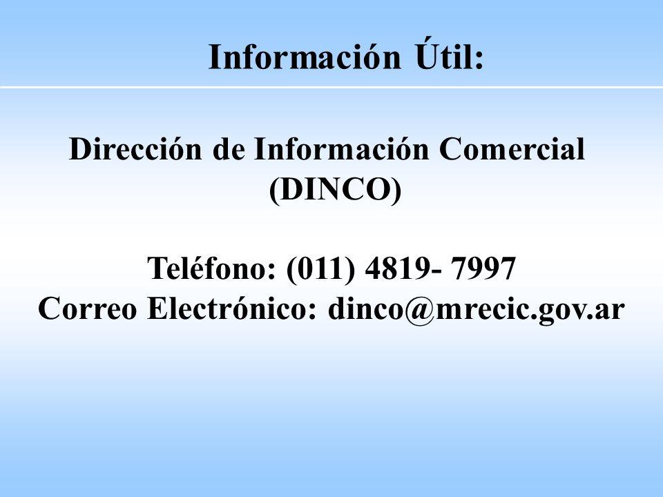 Información Útil: Dirección de Información Comercial (DINCO)