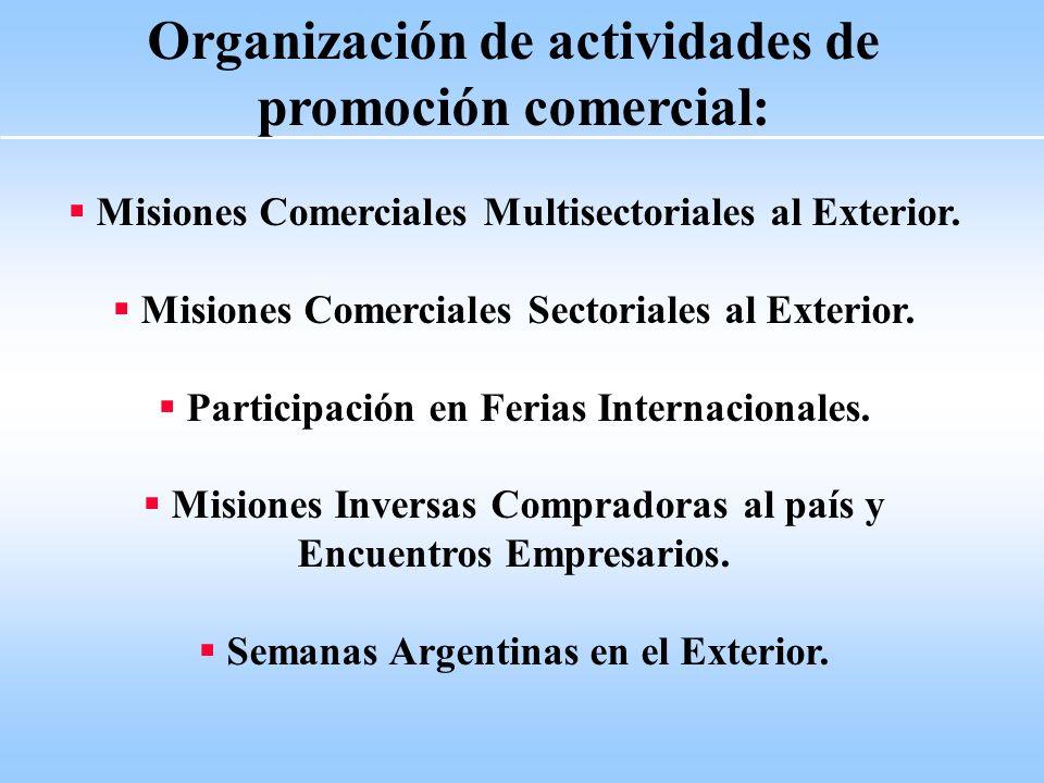 Organización de actividades de promoción comercial: