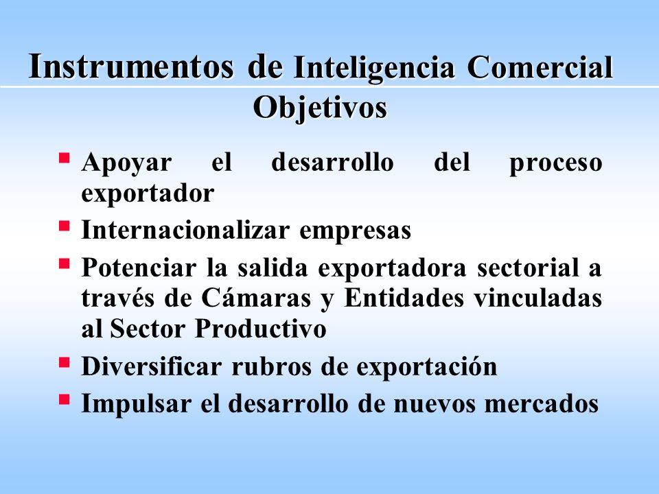Instrumentos de Inteligencia Comercial Objetivos