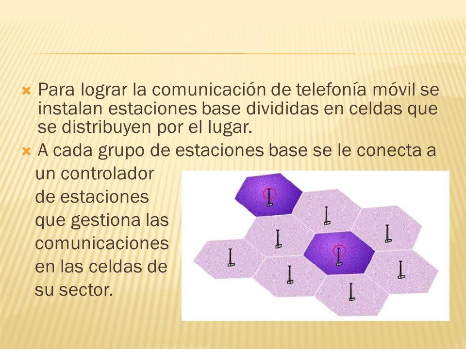 Para lograr la comunicación de telefonía móvil se instalan estaciones base divididas en celdas que se distribuyen por el lugar.
