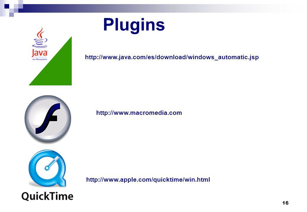 Plugins http://www.java.com/es/download/windows_automatic.jsp
