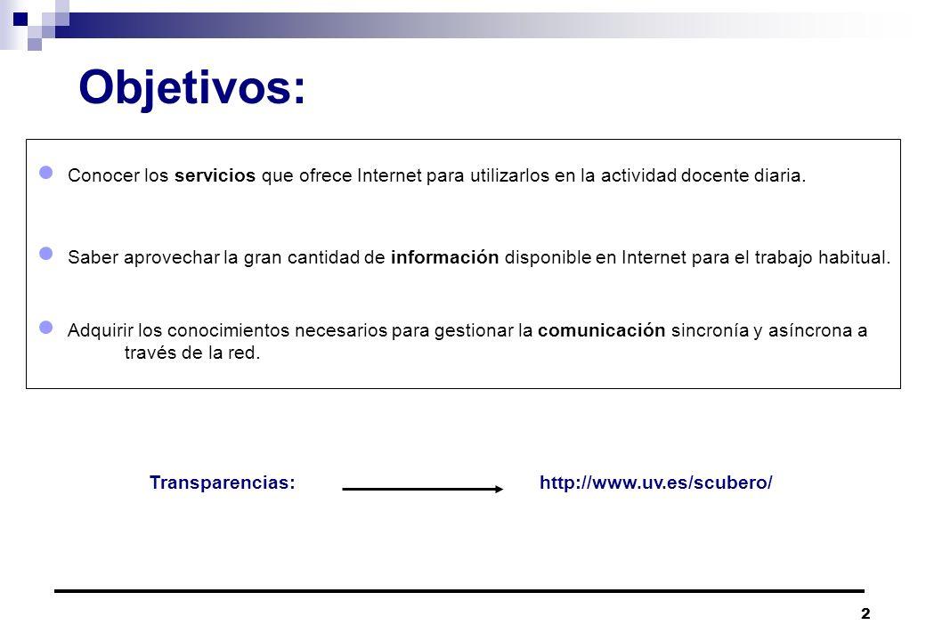 Objetivos: Conocer los servicios que ofrece Internet para utilizarlos en la actividad docente diaria.