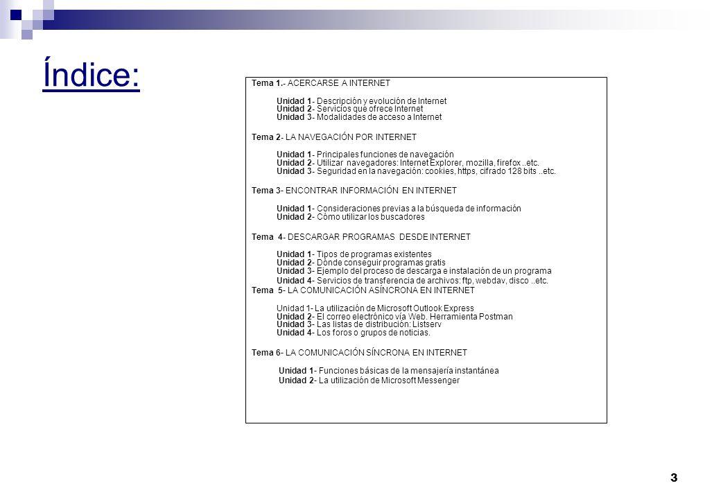 Índice: Tema 1.- ACERCARSE A INTERNET