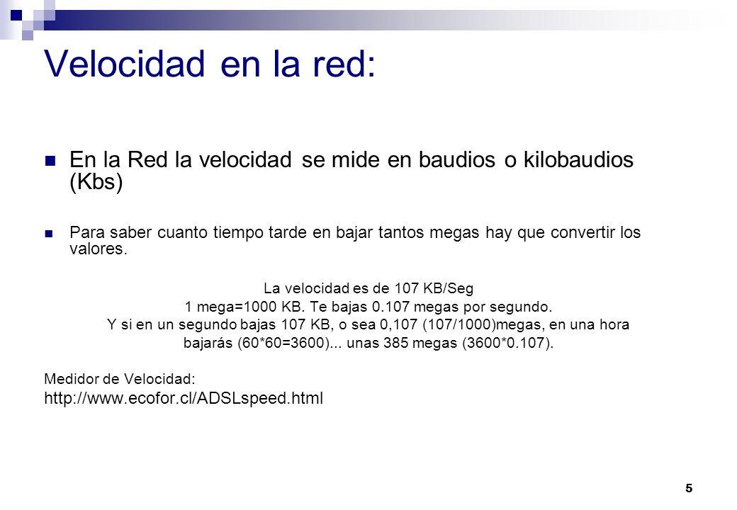 Velocidad en la red: En la Red la velocidad se mide en baudios o kilobaudios (Kbs)