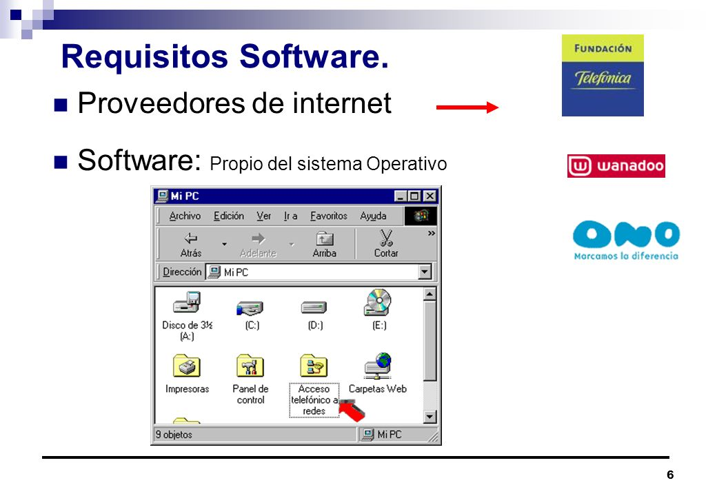 Requisitos Software. Proveedores de internet