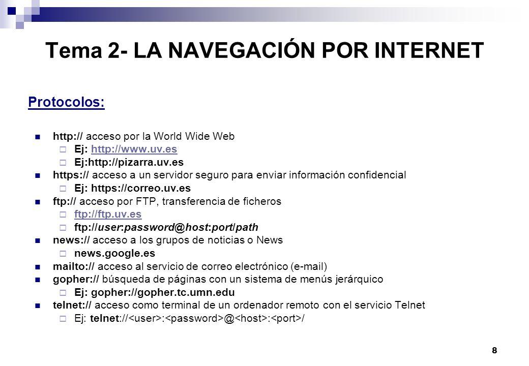 Tema 2- LA NAVEGACIÓN POR INTERNET