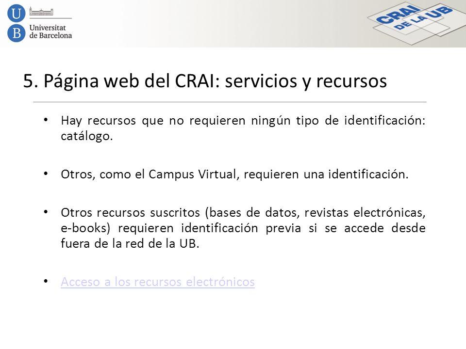 5. Página web del CRAI: servicios y recursos