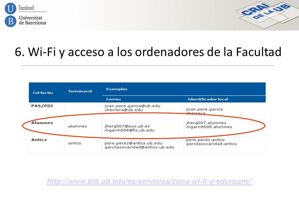 6. Wi-Fi y acceso a los ordenadores de la Facultad