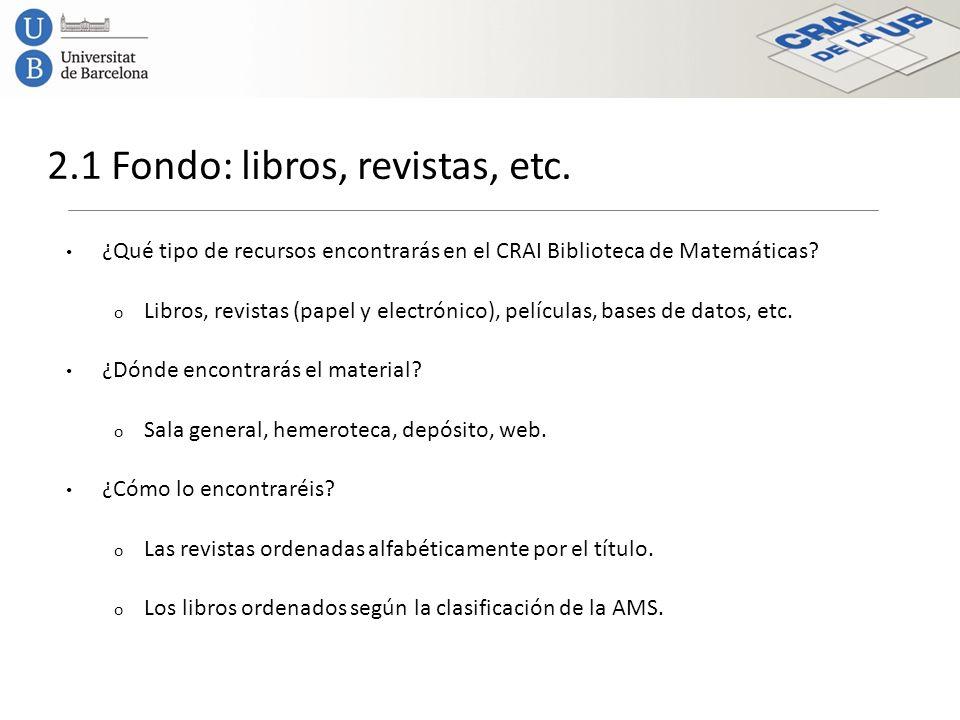 2.1 Fondo: libros, revistas, etc.