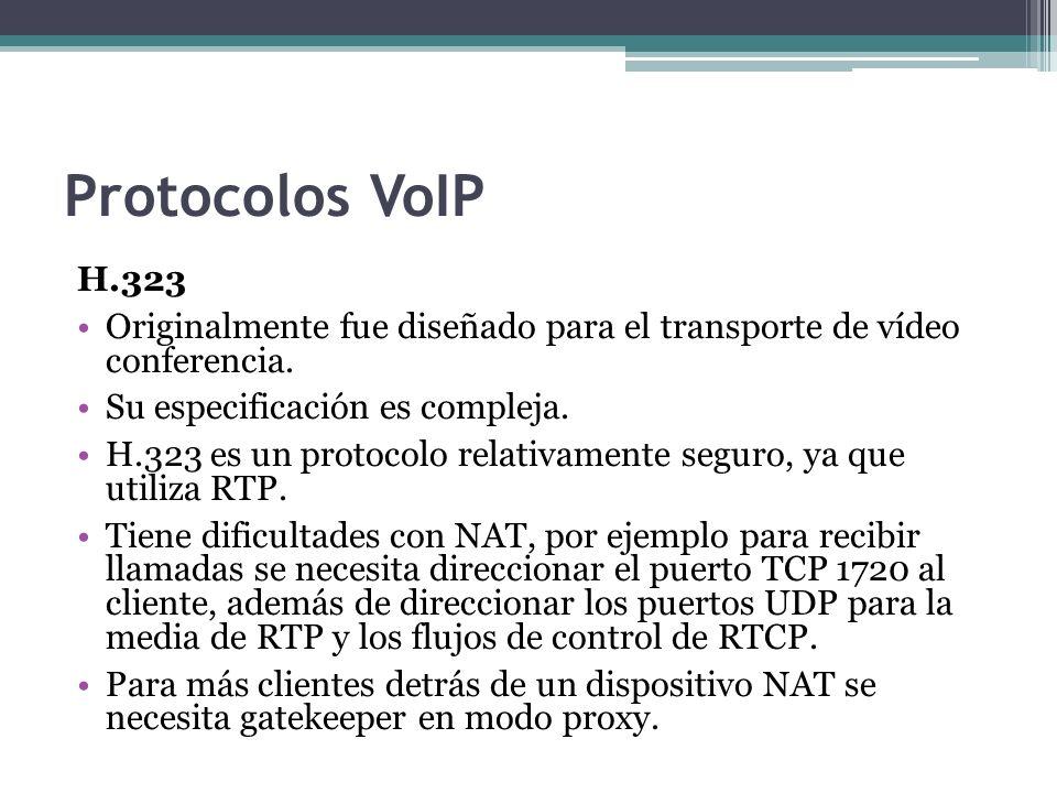 Protocolos VoIP H.323. Originalmente fue diseñado para el transporte de vídeo conferencia. Su especificación es compleja.
