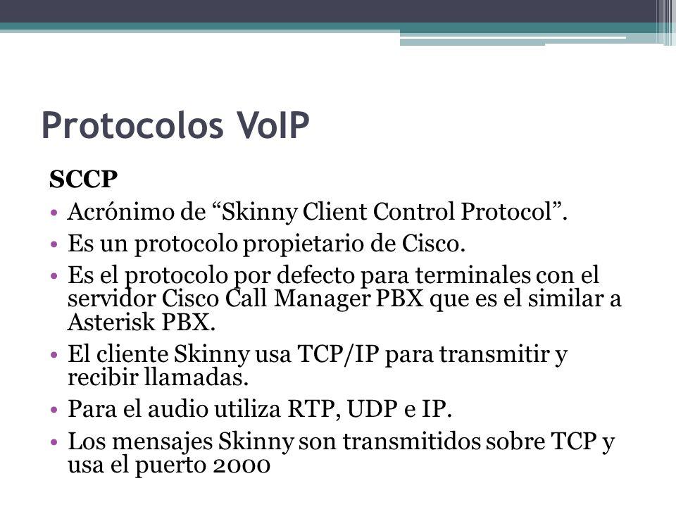 Protocolos VoIP SCCP Acrónimo de Skinny Client Control Protocol .