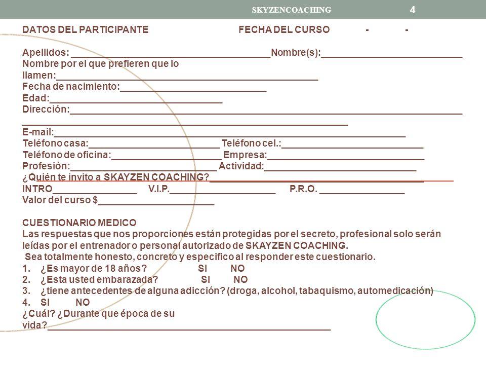 DATOS DEL PARTICIPANTE FECHA DEL CURSO - -