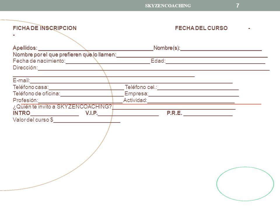 FICHA DE INSCRIPCION FECHA DEL CURSO - -