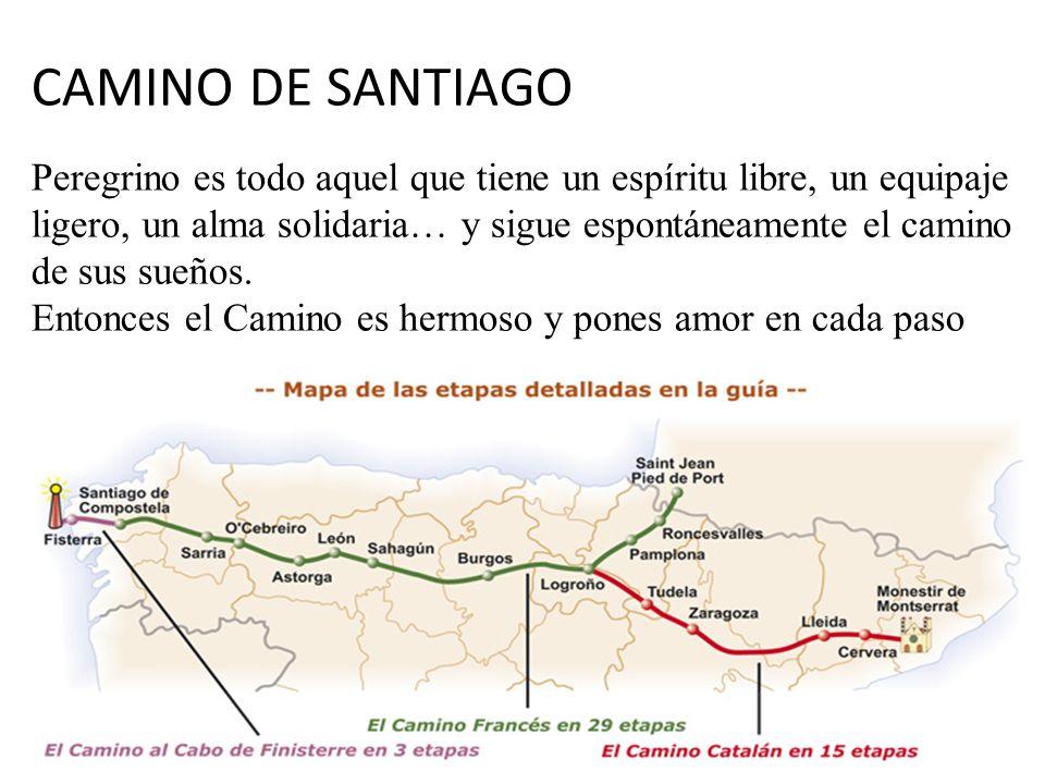 CAMINO DE SANTIAGO Peregrino es todo aquel que tiene un espíritu libre, un equipaje ligero, un alma solidaria… y sigue espontáneamente el camino de sus sueños.