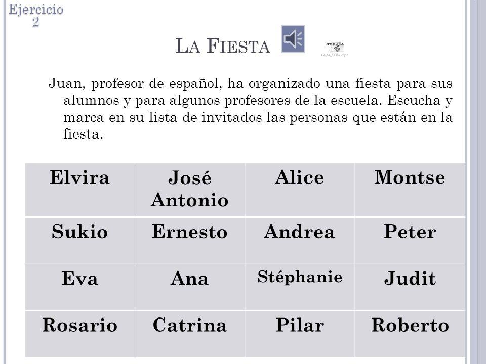La Fiesta Elvira José Antonio Alice Montse Sukio Ernesto Andrea Peter