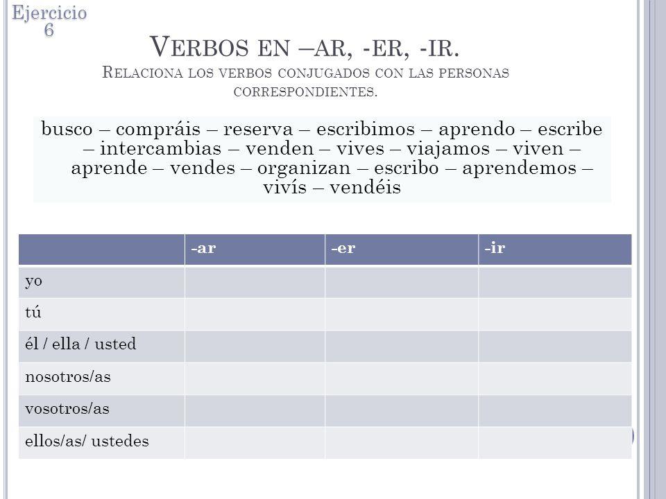 Ejercicio 6 Verbos en –ar, -er, -ir. Relaciona los verbos conjugados con las personas correspondientes.