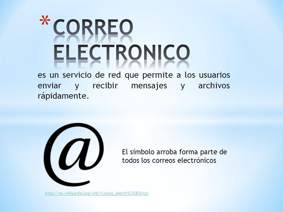 CORREO ELECTRONICO es un servicio de red que permite a los usuarios enviar y recibir mensajes y archivos rápidamente.