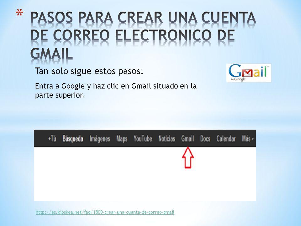 PASOS PARA CREAR UNA CUENTA DE CORREO ELECTRONICO DE GMAIL