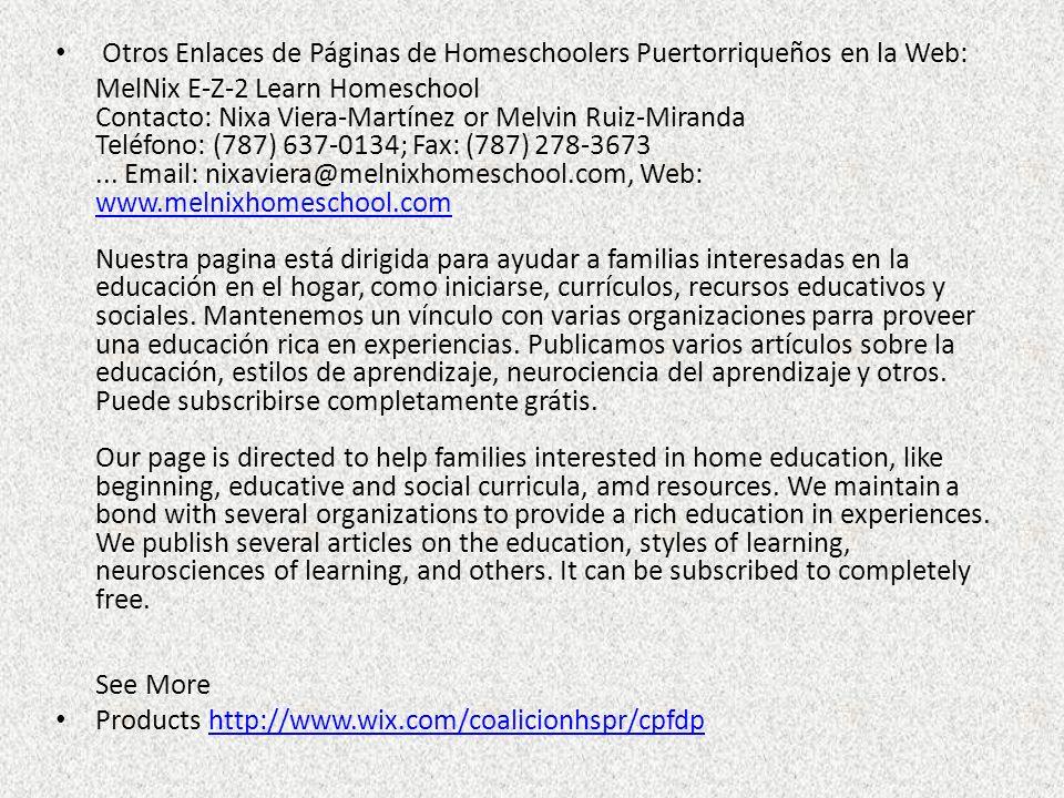Otros Enlaces de Páginas de Homeschoolers Puertorriqueños en la Web: