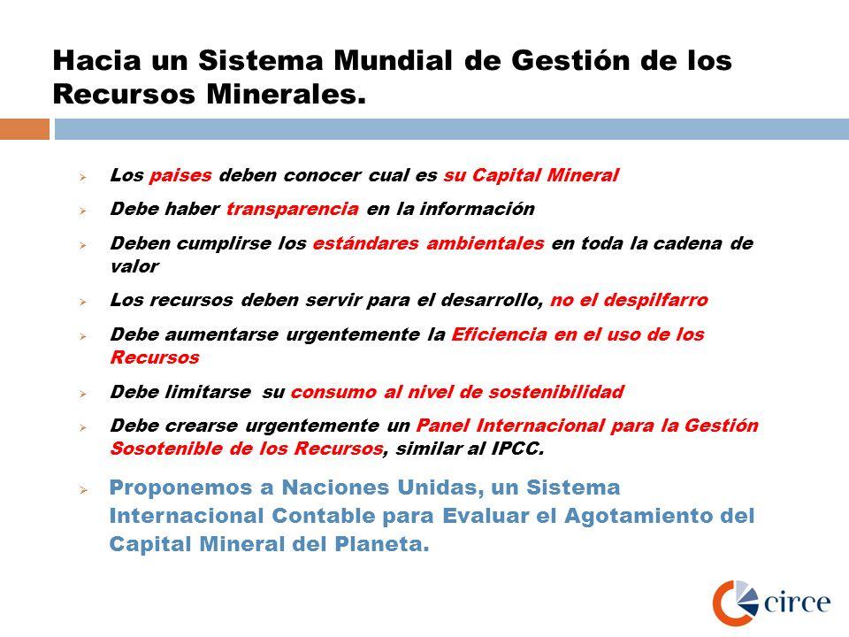 Hacia un Sistema Mundial de Gestión de los Recursos Minerales.