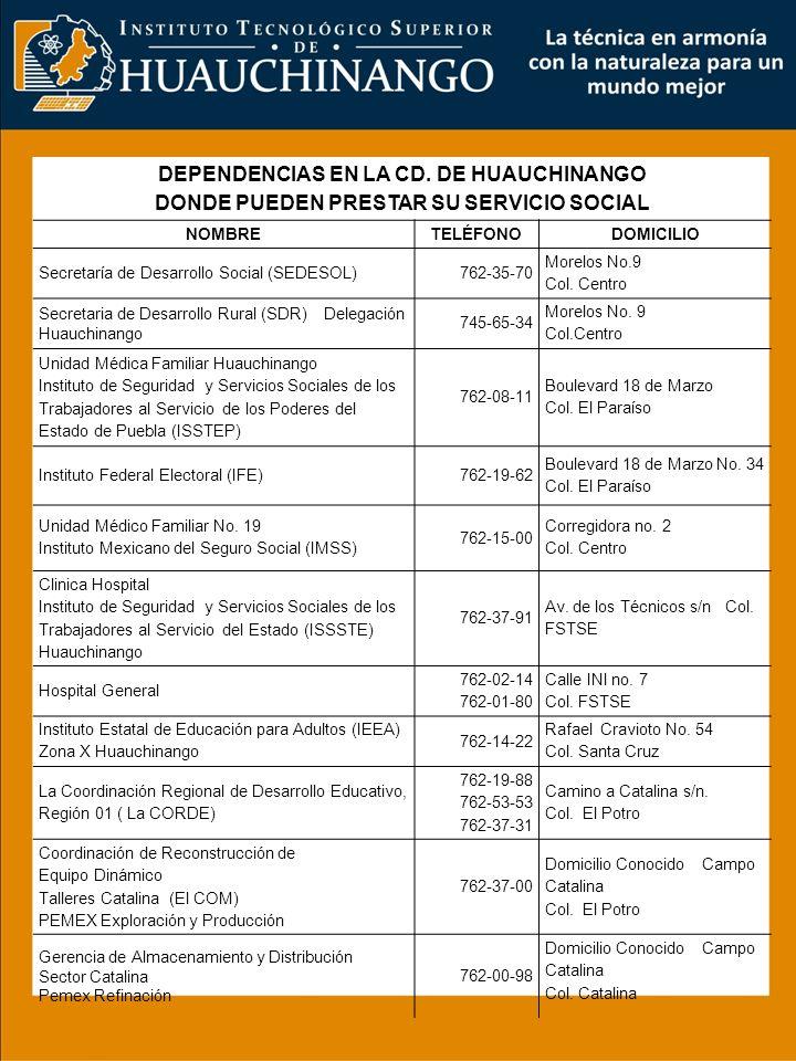 DEPENDENCIAS EN LA CD. DE HUAUCHINANGO DONDE PUEDEN PRESTAR SU SERVICIO SOCIAL