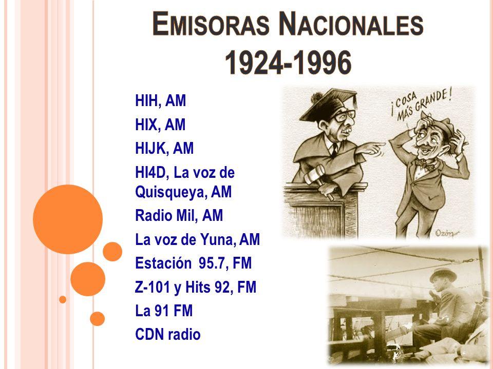 Emisoras Nacionales 1924-1996 HIH, AM HIX, AM HIJK, AM