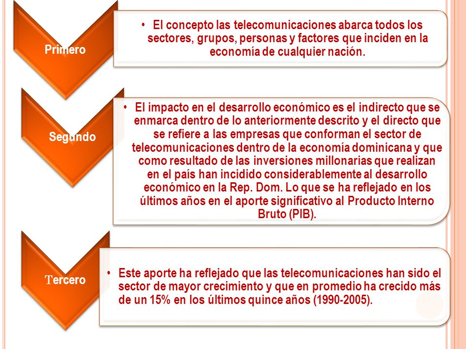 Primero El concepto las telecomunicaciones abarca todos los sectores, grupos, personas y factores que inciden en la economía de cualquier nación.