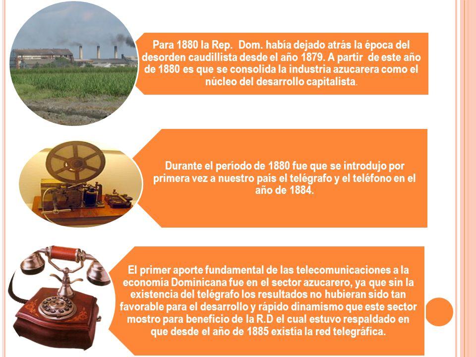 Para 1880 la Rep. Dom. había dejado atrás la época del desorden caudillista desde el año 1879. A partir de este año de 1880 es que se consolida la industria azucarera como el núcleo del desarrollo capitalista.