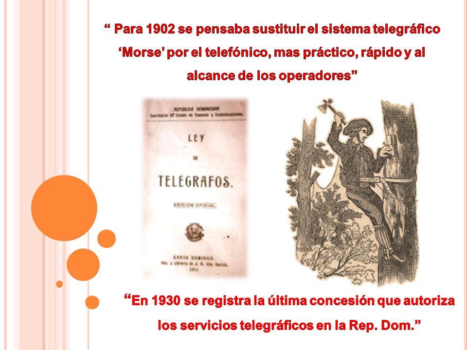 Para 1902 se pensaba sustituir el sistema telegráfico 'Morse' por el telefónico, mas práctico, rápido y al alcance de los operadores
