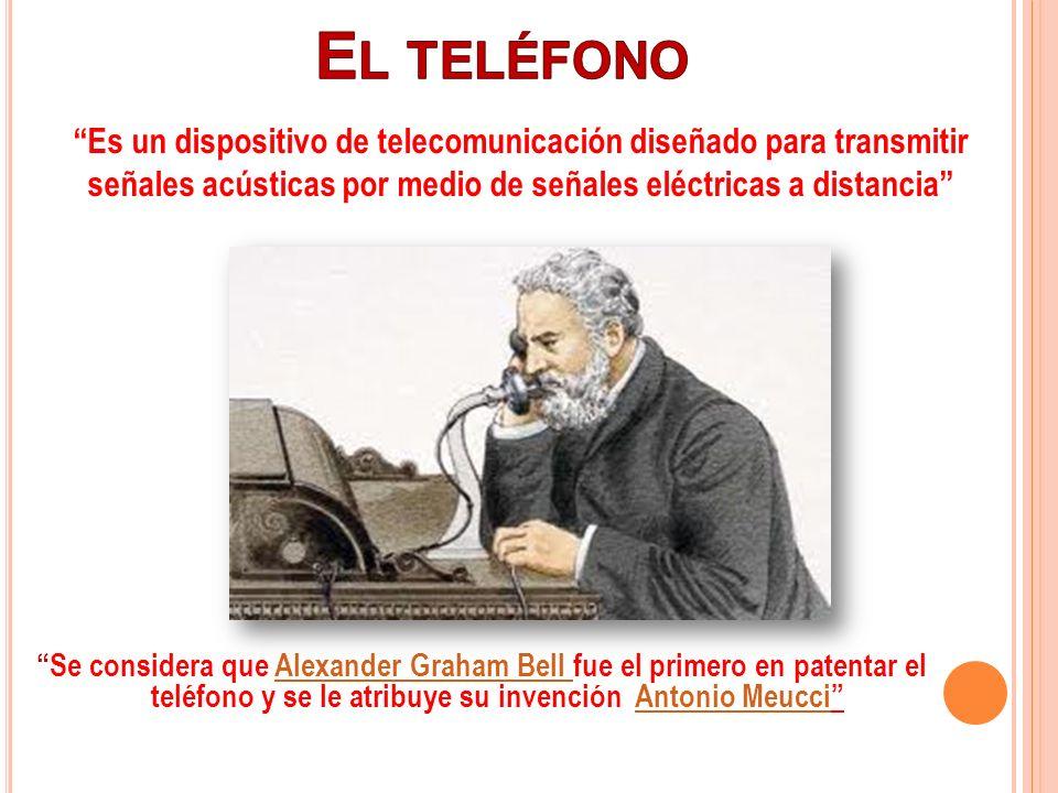 El teléfono Es un dispositivo de telecomunicación diseñado para transmitir señales acústicas por medio de señales eléctricas a distancia