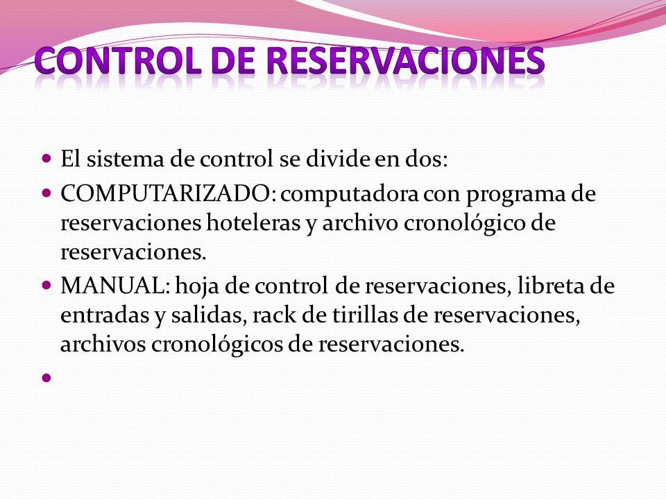 CONTROL DE RESERVACIONES