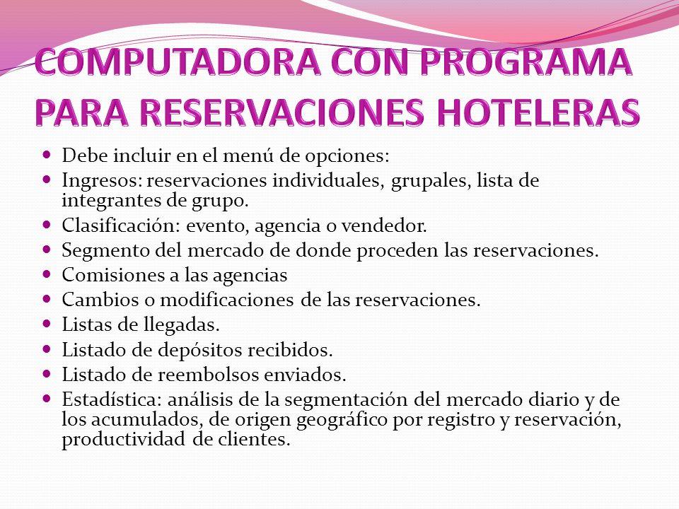 COMPUTADORA CON PROGRAMA PARA RESERVACIONES HOTELERAS