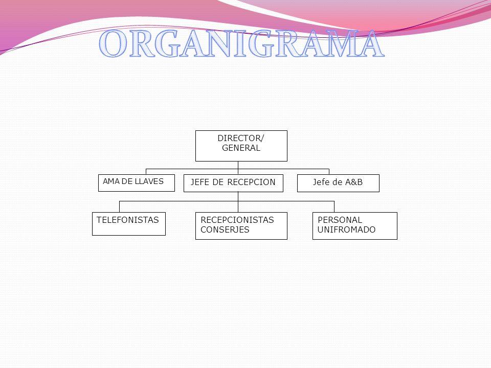ORGANIGRAMA DIRECTOR/ GENERAL JEFE DE RECEPCION Jefe de A&B