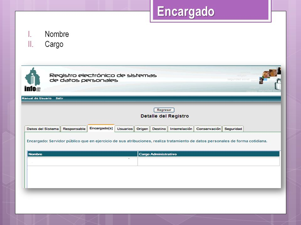 Encargado Nombre Cargo