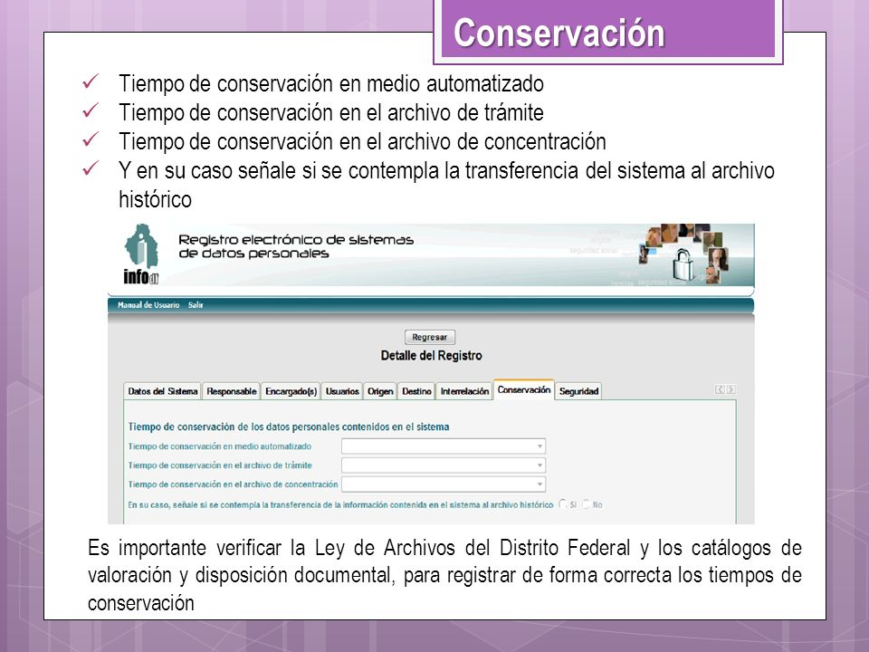 Conservación Tiempo de conservación en medio automatizado