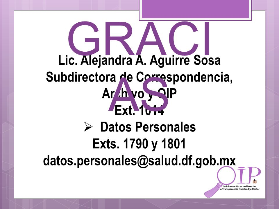 GRACIAS Lic. Alejandra A. Aguirre Sosa