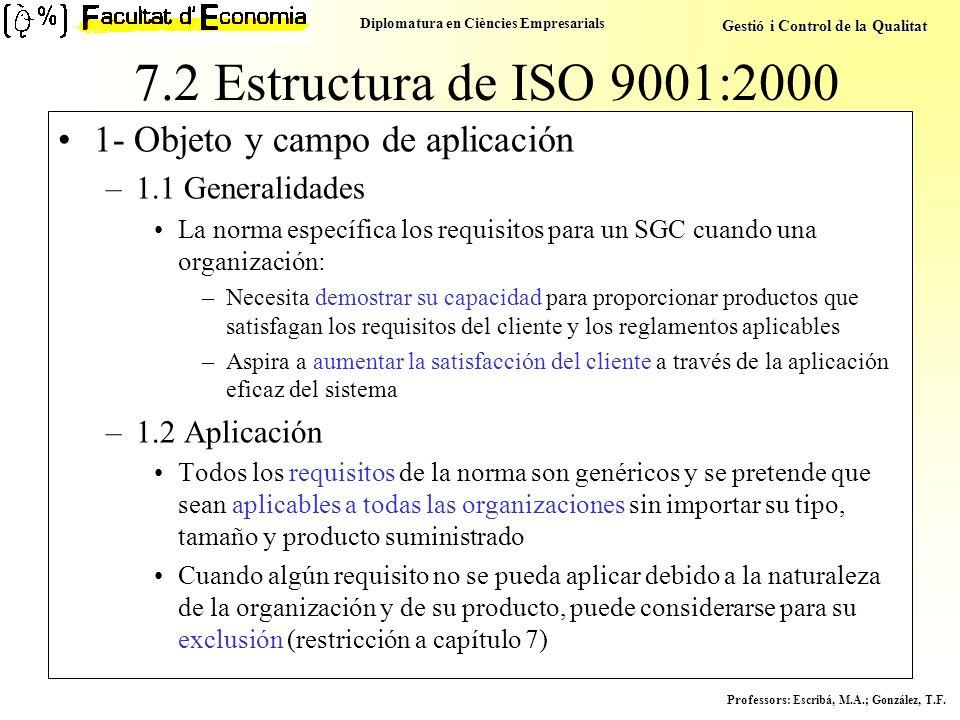 7.2 Estructura de ISO 9001:2000 1- Objeto y campo de aplicación