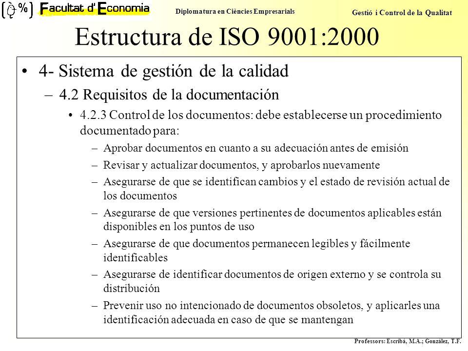 Estructura de ISO 9001:2000 4- Sistema de gestión de la calidad