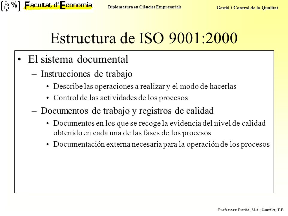 Estructura de ISO 9001:2000 El sistema documental