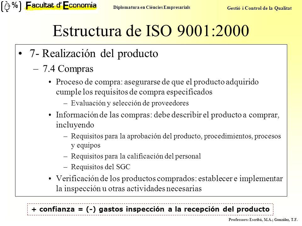 + confianza = (-) gastos inspección a la recepción del producto