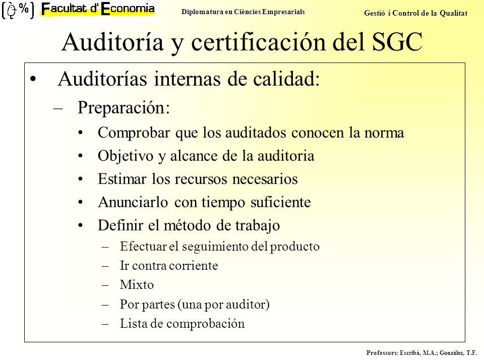 Auditoría y certificación del SGC