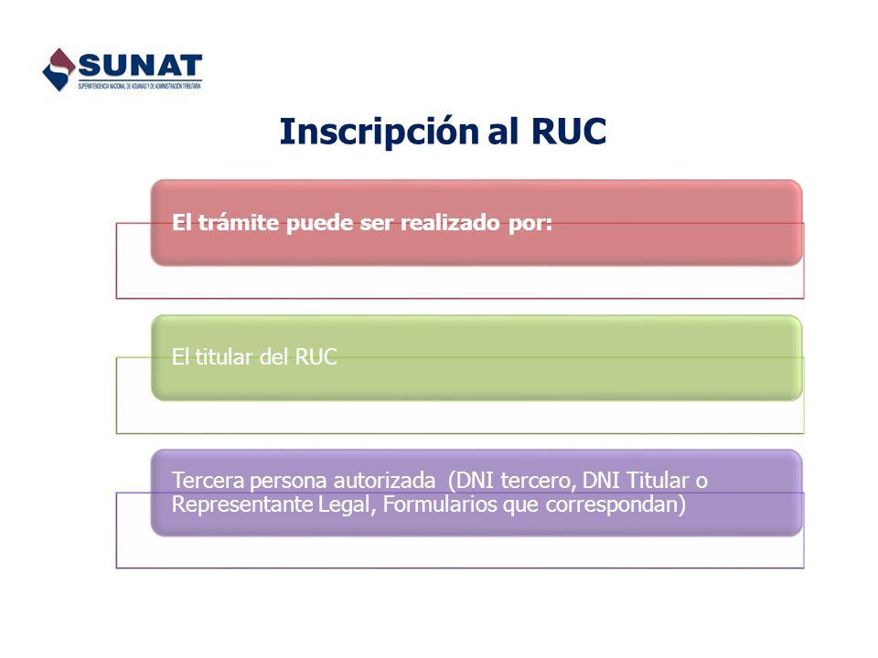 Inscripción al RUC El trámite puede ser realizado por: El titular del RUC.
