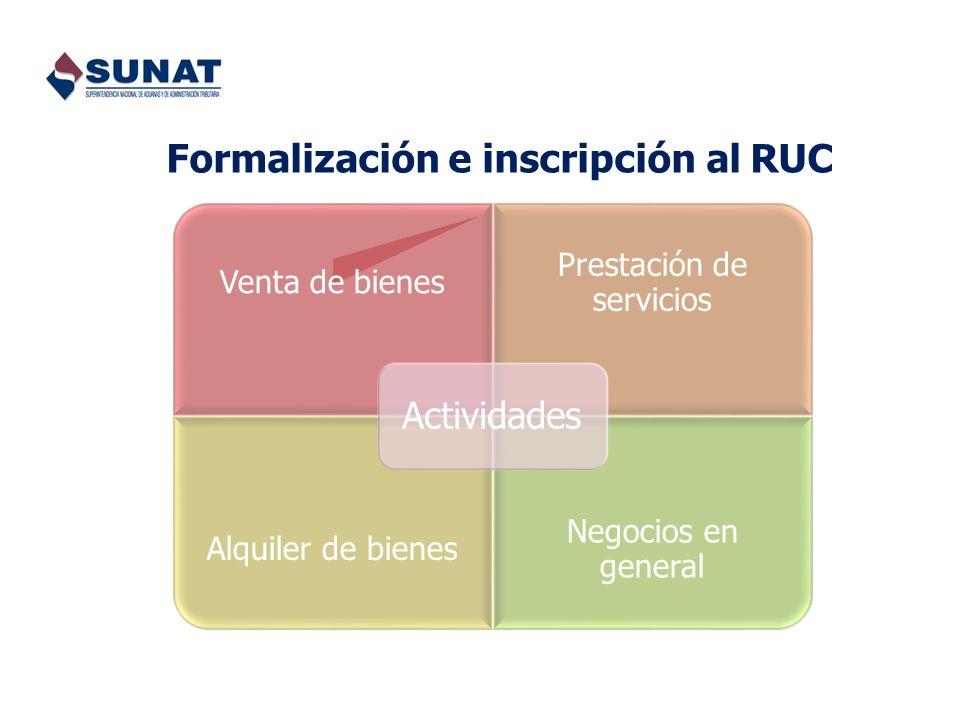 Formalización e inscripción al RUC
