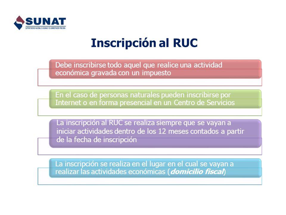 Inscripción al RUC Debe inscribirse todo aquel que realice una actividad económica gravada con un impuesto.