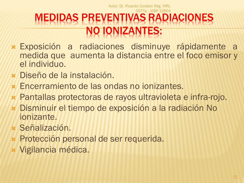 MEDIDAS PREVENTIVAS RADIACIONES NO IONIZANTES: